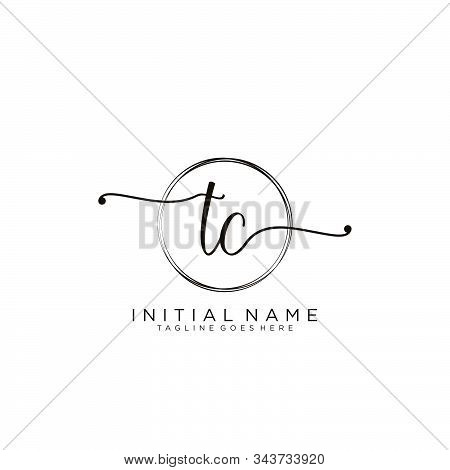 Tc Initial Handwriting Logo With Circle Template Vector.