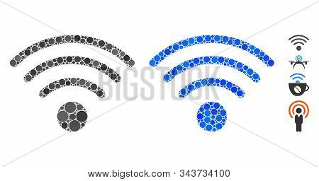 Wi-fi Source Composition Of Circle Elements In Variable Sizes And Shades, Based On Wi-fi Source Icon