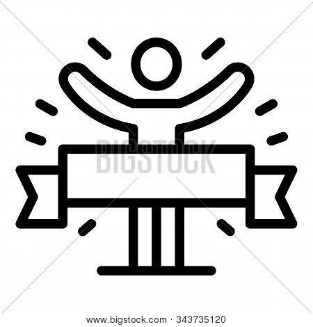 Finish Ribbon Marathon Icon. Outline Finish Ribbon Marathon Vector Icon For Web Design Isolated On W