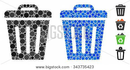 Trash Can Mosaic Of Round Dots In Various Sizes And Color Tones, Based On Trash Can Icon. Vector Rou