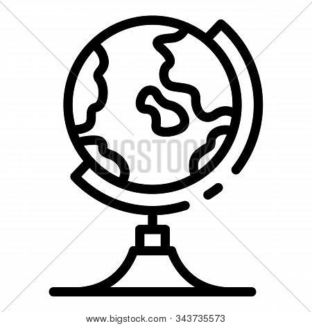 Geography Globe Icon. Outline Geography Globe Vector Icon For Web Design Isolated On White Backgroun
