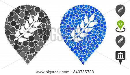 Plantation Mark Composition Of Round Dots In Variable Sizes And Color Tones, Based On Plantation Mar