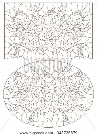 Set Of Contour Illustrations Of Stained Glass Windows With Roses  , Oval And Rectangular Image, Dark