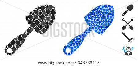 Scoop Shovel Mosaic Of Spheric Dots In Various Sizes And Shades, Based On Scoop Shovel Icon. Vector