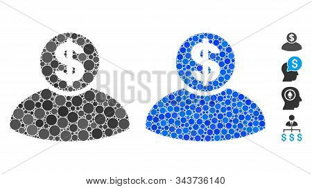 Banker Composition Of Round Dots In Different Sizes And Color Tinges, Based On Banker Icon. Vector S