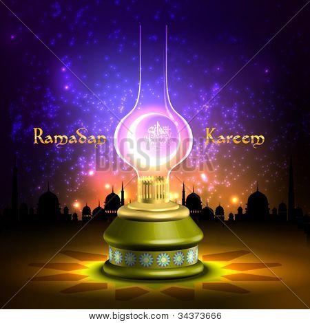 Vector Muslim Oil Lamp - Pelita Translation: Ramadan Kareen - May Generosity Bless You During The Holy Month
