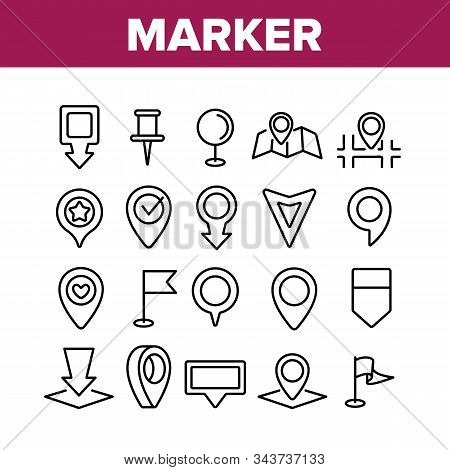 Marker Pointer Gps Map Collection Icons Set Vector Thin Line. Navigation, Direction, Location And Po