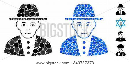 Jew Mosaic Of Round Dots In Variable Sizes And Color Tints, Based On Jew Icon. Vector Round Elements