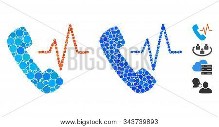 Telephony Mosaic Of Round Dots In Variable Sizes And Color Tints, Based On Telephony Icon. Vector Do