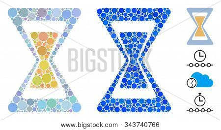 Sand Clock Composition Of Round Dots In Various Sizes And Color Tones, Based On Sand Clock Icon. Vec
