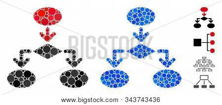 Flowchart Mosaic Of Filled Circles In Various Sizes And Color Hues, Based On Flowchart Icon. Vector