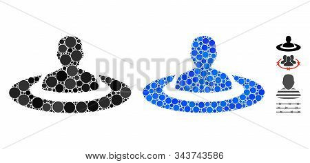 Prison Mosaic Of Filled Circles In Different Sizes And Color Hues, Based On Prison Icon. Vector Fill