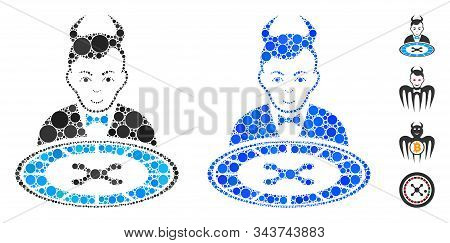 Devil Roulette Dealer Mosaic Of Small Circles In Different Sizes And Color Tinges, Based On Devil Ro