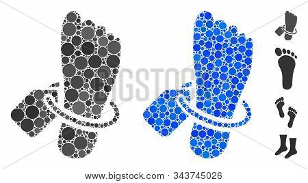 Morgue Tagged Foot Mosaic Of Small Circles In Different Sizes And Color Tinges, Based On Morgue Tagg