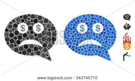 Bankrupt Mosaic Of Small Circles In Different Sizes And Color Hues, Based On Bankrupt Icon. Vector S