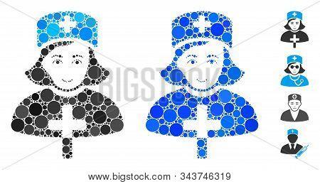 Catholic Lady Doctor Mosaic Of Round Dots In Various Sizes And Color Hues, Based On Catholic Lady Do