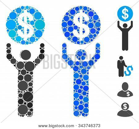 Banker Composition Of Filled Circles In Various Sizes And Color Tints, Based On Banker Icon. Vector