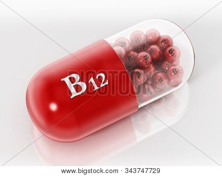 Vitamin B1 Pill With Small Spheres Isolated On White Background. 3d Illustration.