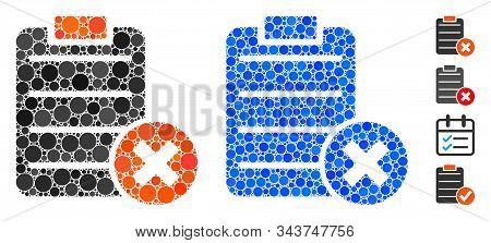 Reject Form Mosaic Of Circle Elements In Various Sizes And Shades, Based On Reject Form Icon. Vector