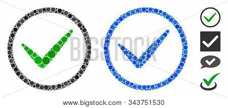 Ok Tick Composition Of Round Dots In Different Sizes And Shades, Based On Ok Tick Icon. Vector Round