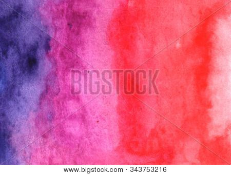 Abstract Watercolor Background Bright Pink Red Purple Violet Blue Green With Red Spot. Hand Drawn. T