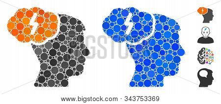 Brainstorm Mosaic Of Round Dots In Variable Sizes And Color Hues, Based On Brainstorm Icon. Vector D