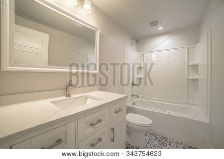 Modern Fitted White Bathroom Interior Of Home