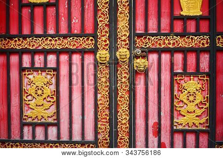 Wooden Door Of Ancient Tibetan Temple In Garze Tibetan Autonomous Prefecture, Sichuan, China.