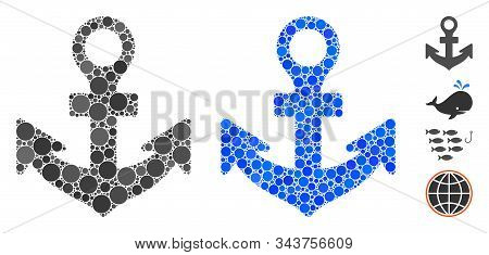 Anchor Mosaic Of Small Circles In Different Sizes And Color Tints, Based On Anchor Icon. Vector Fill