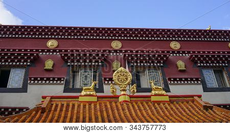 Ancient Tibetan Buddhist Temple In Kangding, Garze Tibetan, China. Kangding Is Located In A Valley O
