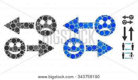 Emotion Exchange Arrows Mosaic Of Filled Circles In Various Sizes And Color Tinges, Based On Emotion