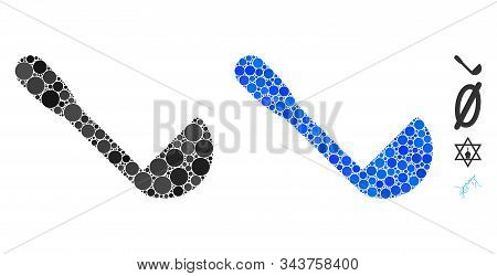 Scoop Mosaic Of Round Dots In Various Sizes And Shades, Based On Scoop Icon. Vector Round Dots Are C