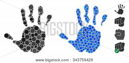Hand Print Mosaic Of Small Circles In Different Sizes And Shades, Based On Hand Print Icon. Vector R