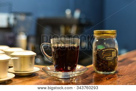 Saigon, Vietnam - Sep 22, 2019. Organic Coffee Drink (black Hot Specialty Coffee) At The Vintage Res