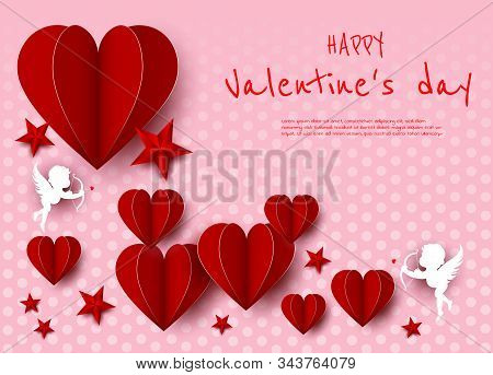 Valentines day, red card, hearts and angels, place for text, paper style, Valentine, valentine day, Valentines Day background, Valentine's day banners, Valentines Day flyer, Valentines Day design, Valentines Day with Heart on pink background, Copy space t