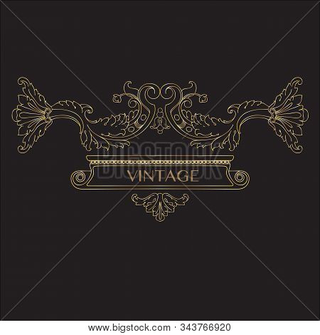 Golden Calligraphic Design Elements, Page Decor, Divider, Ornate Headpieces. Vector.
