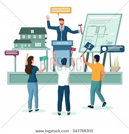 Real Estate House Auction Vector Concept Illustration