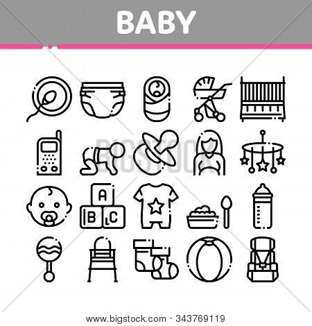 Baby Clothes And Tools Collection Icons Set Vector Thin Line. Baby And Pregnancy Woman, Stroller And