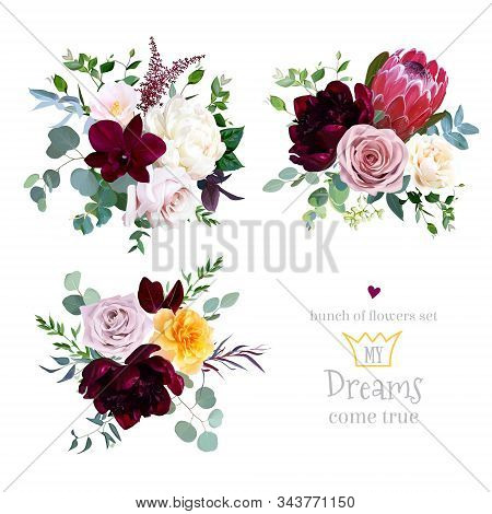 Dusty Pink, Yellow And Creamy Rose, Magenta Protea, Burgundy And White Peony Flowers, Orchid, Pink C