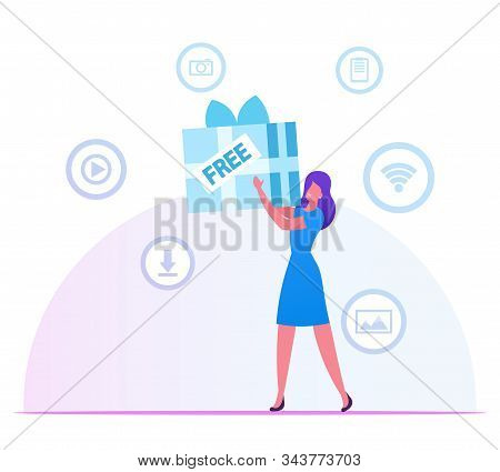 Woman Holding Huge Wrapped Gift Box In Hands With Media Icons For App Around. Girl Using Free Downlo