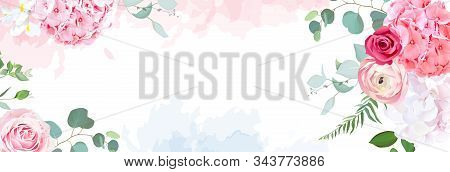 Trendy Simple Flat Lay Design Vector Horizontal Background. Pink Hydrangea, Red Magenta Rose, Coral
