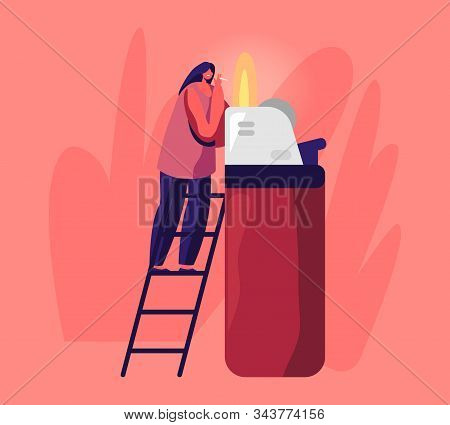 Tiny Woman Stand On Ladder Light Cigarette From Huge Burning Lighter Getting Pleasure From Smoking A