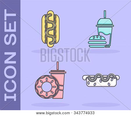 Set Hotdog Sandwich With Mustard, Hotdog Sandwich With Mustard, Paper Glass With Drinking Straw And
