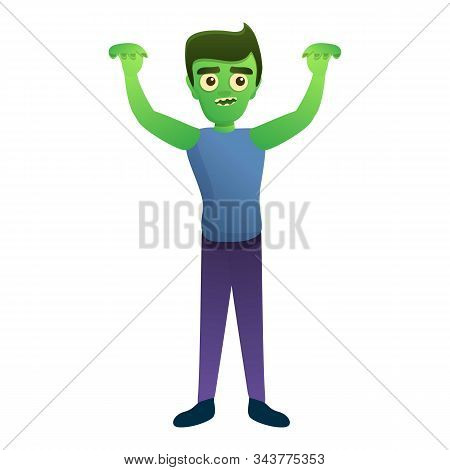 Zombie Hands Up Icon. Cartoon Of Zombie Hands Up Vector Icon For Web Design Isolated On White Backgr