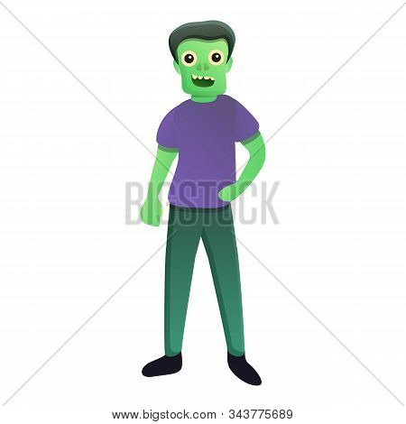 Smiling Zombie Icon. Cartoon Of Smiling Zombie Vector Icon For Web Design Isolated On White Backgrou