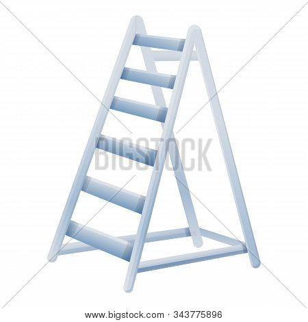 Stairway Ladder Icon. Cartoon Of Stairway Ladder Vector Icon For Web Design Isolated On White Backgr