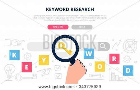 Colorful Keyword Search Illustration With Many Doodle Elements. Hand Holds A Large Magnifying Glass