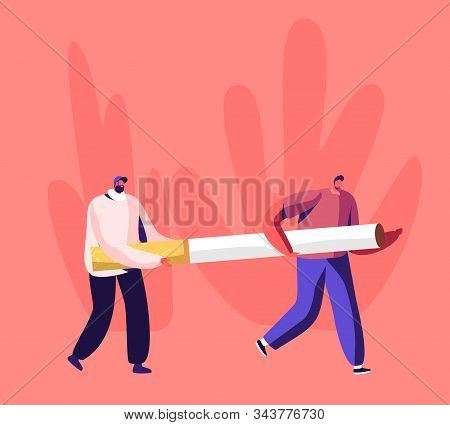 Smoking Addiction And Bad Unhealthy Habit Concept. Couple Of Tiny Male Characters Carry Huge Cigaret
