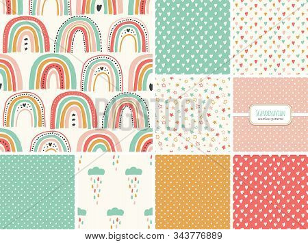 Cute Set Of Scandinavian Childish Seamless Pattern With Trendy Hand Drawn Rainbows, Clouds, Stars An