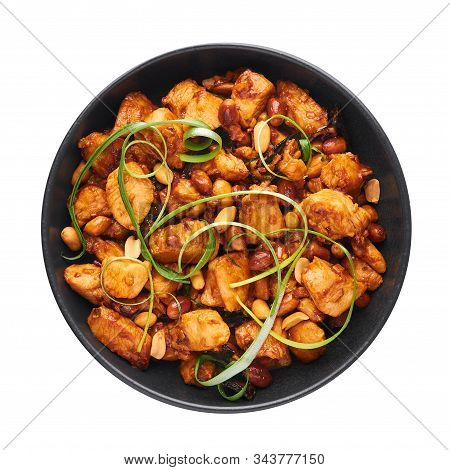 Kung Pao Chicken Or Gong Bao Ji Ding Isolated On White Background. Sichuan Kung Pao Is Chinese Cuisi